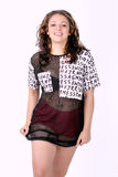 Young attractive woman wearing cool urban clothing. On white background Stock Photography