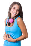 Young attractive woman wearing headphones Royalty Free Stock Images
