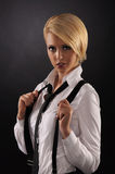 Young attractive woman wearing a male shirt Royalty Free Stock Photo