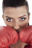Young attractive woman wearing red gloves Royalty Free Stock Images