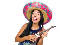 The young attractive woman wearing sombrero on Royalty Free Stock Images