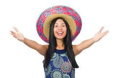 The young attractive woman wearing sombrero on Stock Photos