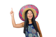 The young attractive woman wearing sombrero on Royalty Free Stock Photos