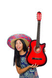 The young attractive woman wearing sombrero on Royalty Free Stock Photo