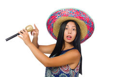 The young attractive woman wearing sombrero on Stock Photo