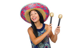 The young attractive woman wearing sombrero on Stock Images