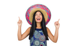 Young attractive woman wearing sombrero on white Royalty Free Stock Images