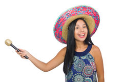 Young attractive woman wearing sombrero on white Stock Photography
