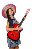 Young attractive woman wearing sombrero on white Stock Photos