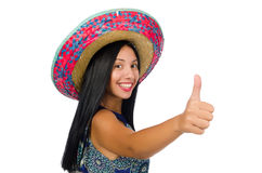 Young attractive woman wearing sombrero on white Stock Photo