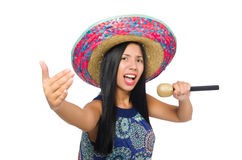 Young attractive woman wearing sombrero on white Royalty Free Stock Photography