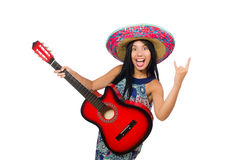 Young attractive woman wearing sombrero on white Royalty Free Stock Image