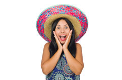 Young attractive woman wearing sombrero on white Royalty Free Stock Photo