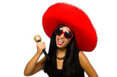 Young attractive woman wearing sombrero on white Stock Image