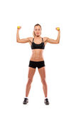 Young attractive woman with weights Stock Photos