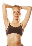 Young attractive woman wet long hair after workout Royalty Free Stock Images