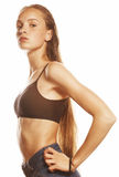 Young attractive woman wet long hair after workout isolated Royalty Free Stock Photography