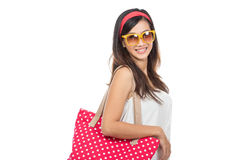 Young attractive woman in white dress wearing summer hat and sun Royalty Free Stock Photography