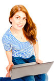 Young attractive woman working at computer Stock Image