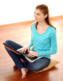 Young Attractive Woman Working with Laptop Royalty Free Stock Photo