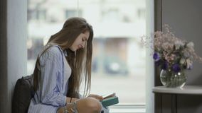 Pretty lady read book sitting on window sill stock footage