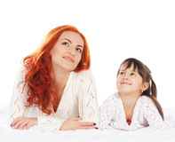 Mother and daughter isolated on white background Stock Photography