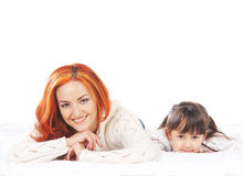 Mother and daughter  on white background Royalty Free Stock Image