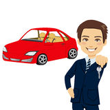 Young Automobile Salesman. Holding the key of a brand new red sports car vector illustration