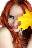 Young autumn woman with yellow leaf Royalty Free Stock Image