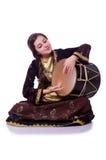 Young azeri woman. Playing traditional drum nagara royalty free stock images