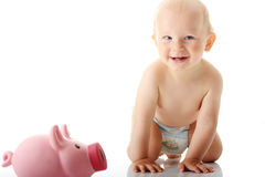 Young baby boy playing with pink piggy bank. Isolated Stock Photo