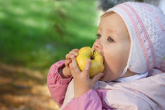 Young baby eating a yellow apple Royalty Free Stock Photo