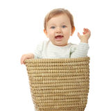 Young baby girl in basket Royalty Free Stock Images