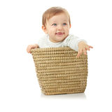 Young baby girl in basket stock photography