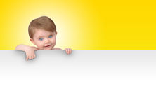 Young Baby Holding Blank Sign Message Stock Image