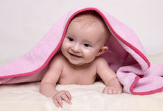 Young baby lying on blanket Royalty Free Stock Image