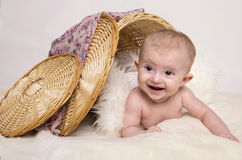 Young baby lying on blanket Royalty Free Stock Photography