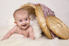 Young baby lying on blanket Stock Photography