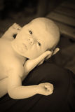 Young baby and mother in sepia Royalty Free Stock Photography