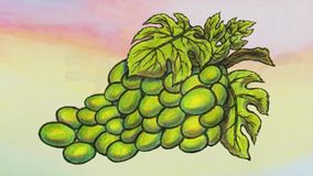 Young Bacchus riding a lioness and green grapes animation 2019 MP4 stock video footage