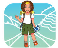 Young backpacker girl at East Asia  background Royalty Free Stock Images