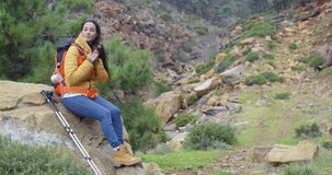 Young backpacker relaxing to enjoy the view stock video