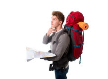 Young backpacker tourist looking map in stress lost and confused Royalty Free Stock Photography