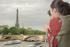 Young backpacker travel and take picture Stock Image