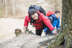 Young backpackers hiking in forest Royalty Free Stock Image