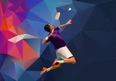 Young badminton player during smash vector illustration