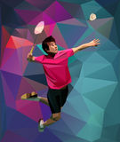 Young badminton player during smash Royalty Free Stock Photography