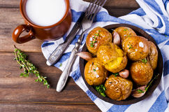 Young baked potatoes Stock Photo