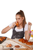Young baking woman with oral regression. Background isolated Royalty Free Stock Photos