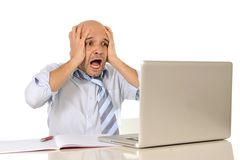 Young bald attractive business man desperate with computer at work. Young attractive business man in stress desperate and frustrated working with computer Stock Images